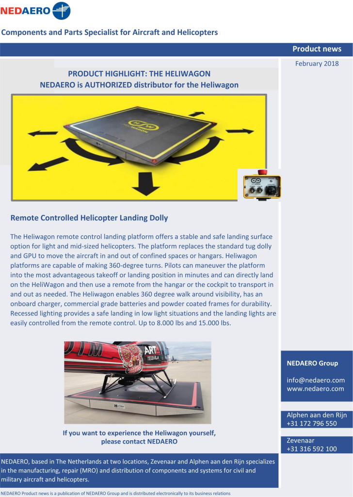 NEDAERO Product news February 2018 Heliwagon