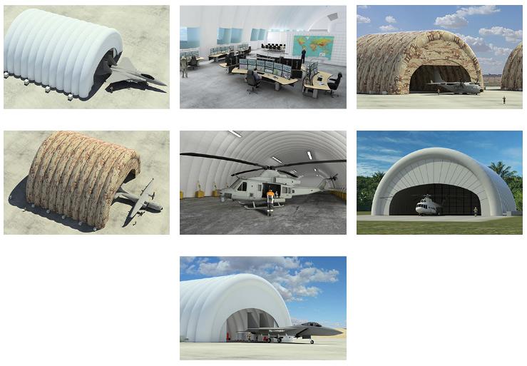 Military inflatable hangars